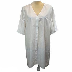 Madewell White Bell Sleeve Shirt Dress Medium NWT